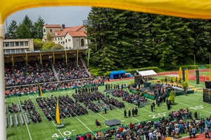 Birds eye view of commencement