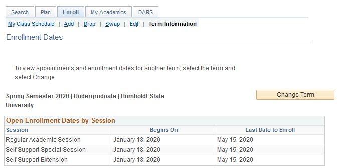 the Enrollment Dates window contains enrollment limit information
