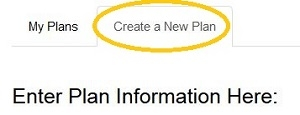 Create a New Plan tab