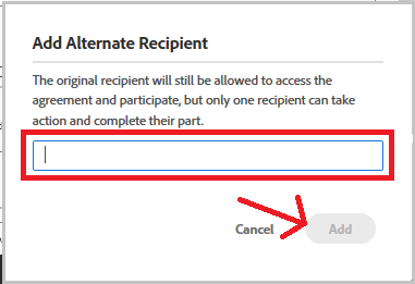 add alternate recipient dialog box