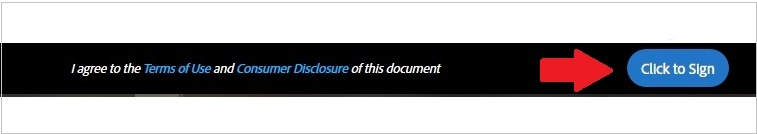 Adobe Sign Agreement Banner. I agree to the Terms and Consumer Disclosure of this document. Click to sign.