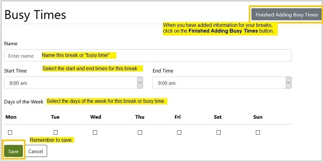Busy Times information includes name, start and end times, days of the week