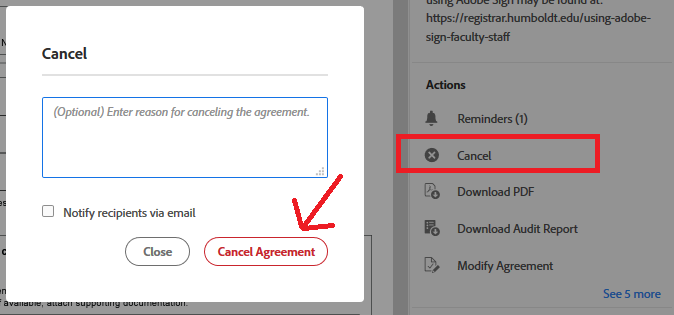 Actions list on the right side of the document includes reminders, cancel, download PDF and Audit Report