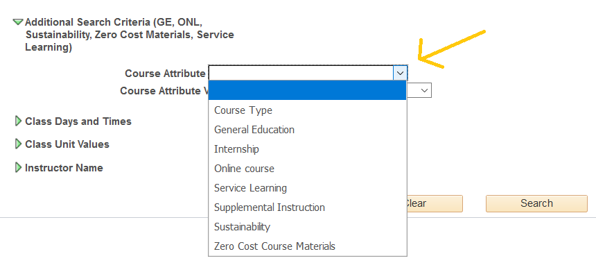 course attribute drop down menu: Course type, General Education, Internship, Online Course, Service Learning, Supplemental Instruction, Sustainability, Zero Cost Course Materials