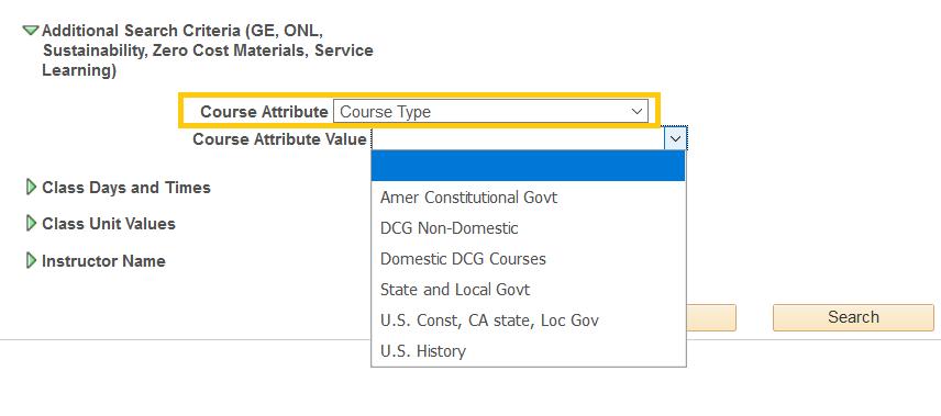 course type drop  down menu