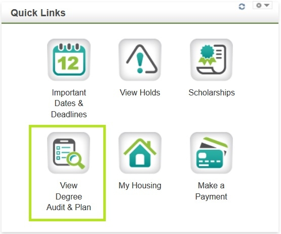 The view degree audit & plan icon is located in the Quick Links section.