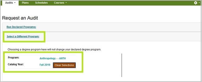 Request an Audit. Select a different program.