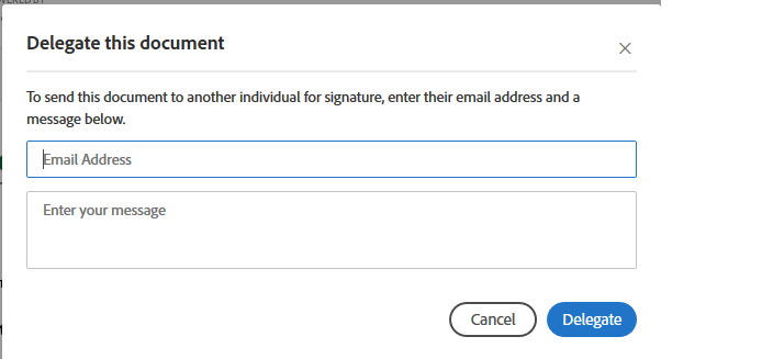 Adobe Sign delegate this document message box