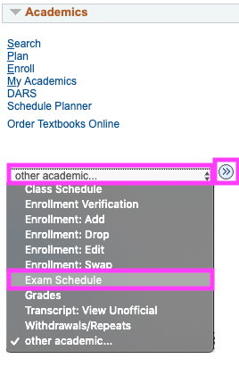 other academic drop down box