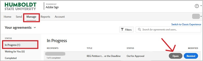 Adobe Sign. Manage tab. Shows status of your argeements: In Progress, Waiting for you, and Completed.