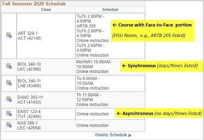 Student Center fall semester 2020 schedule