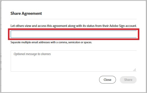 Share Agreement window with email and optional message fields